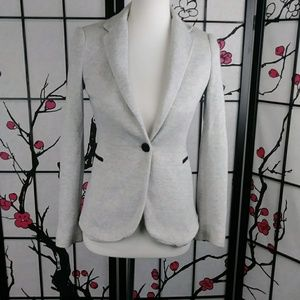 Zara Basic Single Button Fitted Grey Blazer Soft